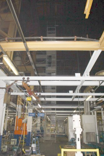 Equipments at ground level and extensive steel work